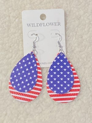God Bless America Double Teardrop Leather Earring In Stars And Stripes