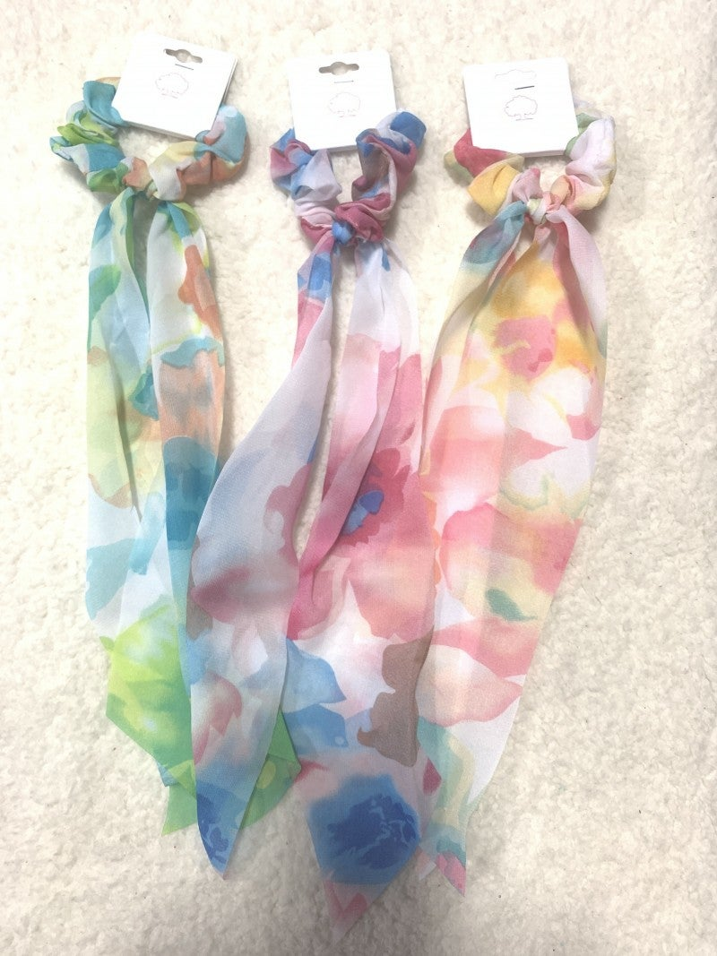 Feeling Spring Watercolor Floral Scrunchie Hair Scarf In Multiple colors