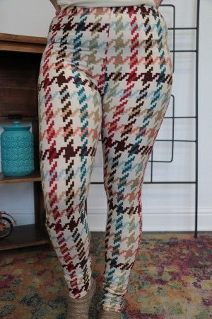Light Up the Sky Multi Colored Houndstooth Leggings - Sizes 4-20