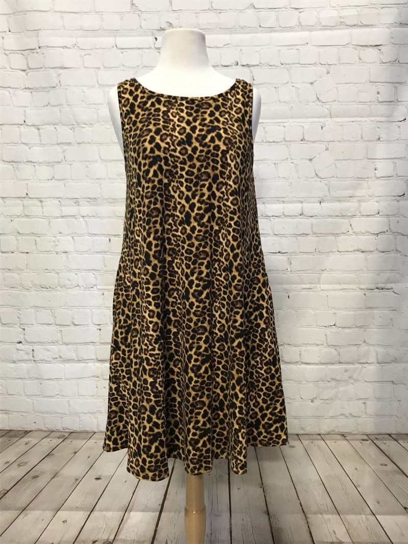 Leopard Dress with Criss-Cross Back - Sizes 4-20
