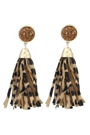 Fabulous & True Leopard Tassel Earrings With Druzy Stone