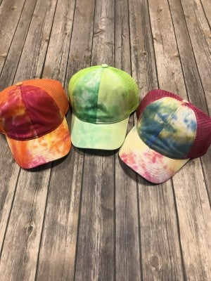 Wild World Tie Dye CC Ponytail Baseball Cap in Multiple Colors