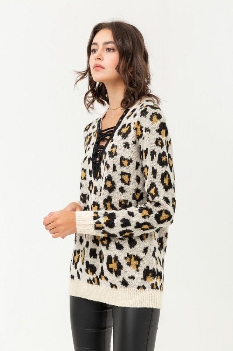 However You Want It leopard Tie Up Sweater - Multiple Colors - Sizes 12-20