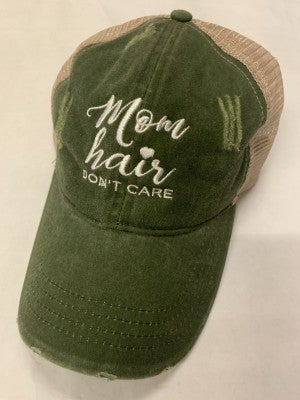 Mom Hair Don't Care Olive & Khaki Ball Cap