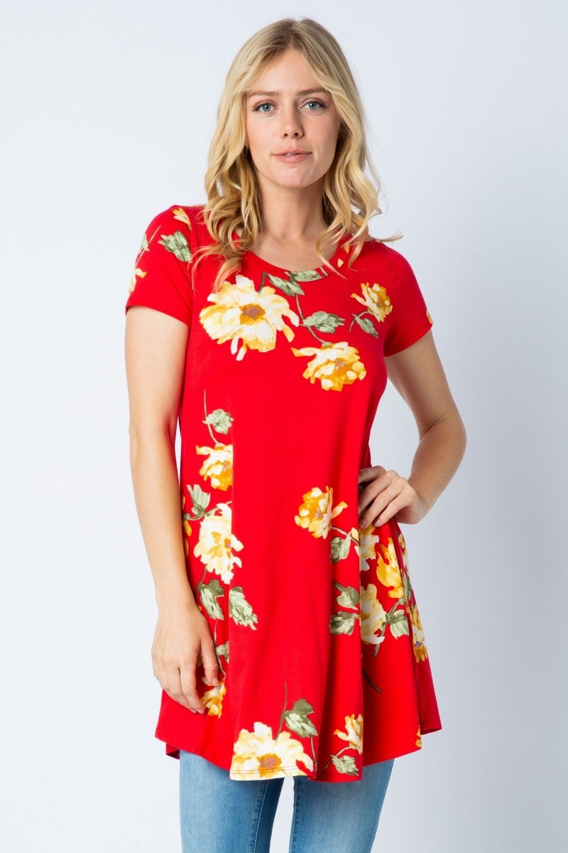 Don't Tempt Me Red Floral Dress - Sizes 12-20