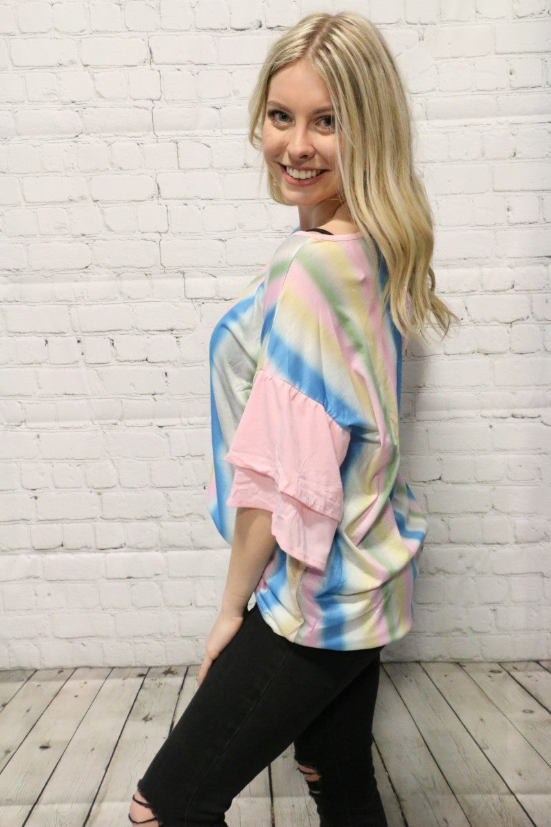 Nothing Better Colorful Tie-Dye Striped Top in Pink - Sizes 4-20
