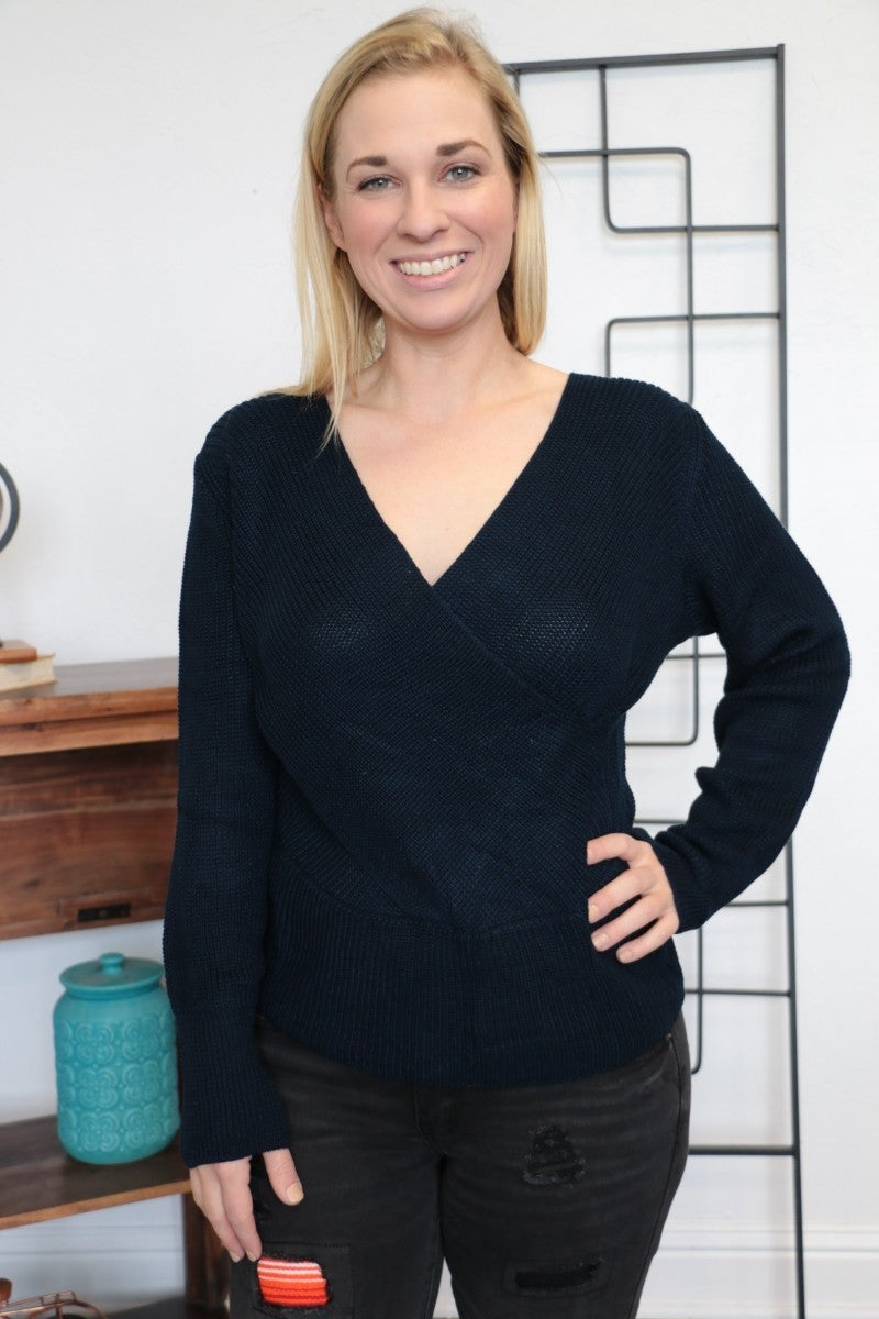 We Can Only Hope Long Sleeve Sweater In Navy - Sizes 4-10