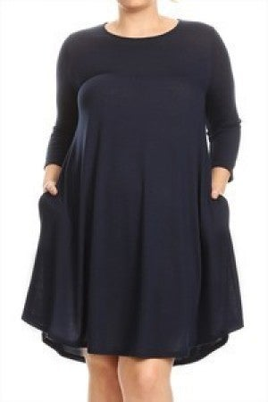 Almost Time Navy Dress with Pockets