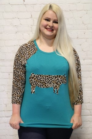 This Little Piggy Raglan with Leopard Sleeves - Sizes 4-20