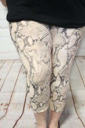 Chasing Dreams Tan Snakeskin Capri Legging - Sizes 12-20