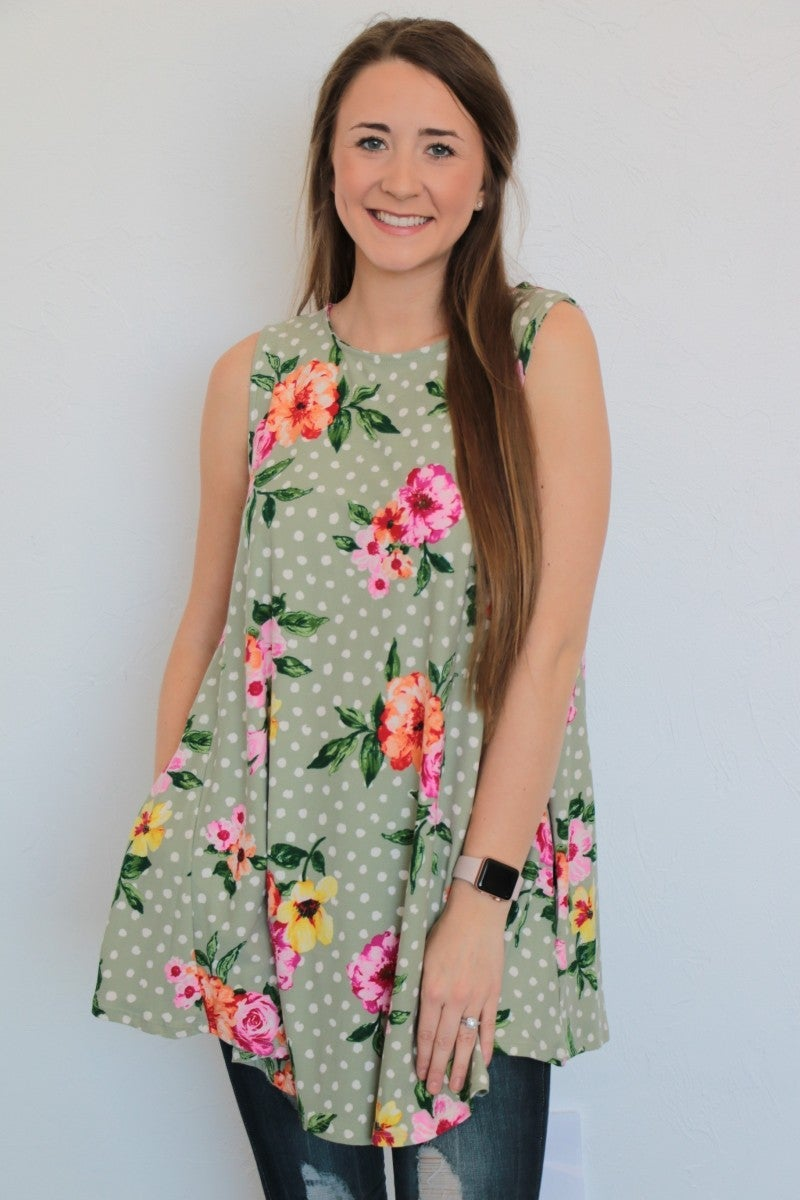 I Am Yours Floral & Polka Dot Tank Top In Sage - Sizes 4-12