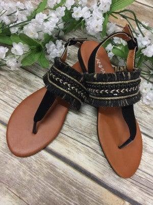 Feeling Festive Sandals With Fringe Detail In Black - Sizes 6-10