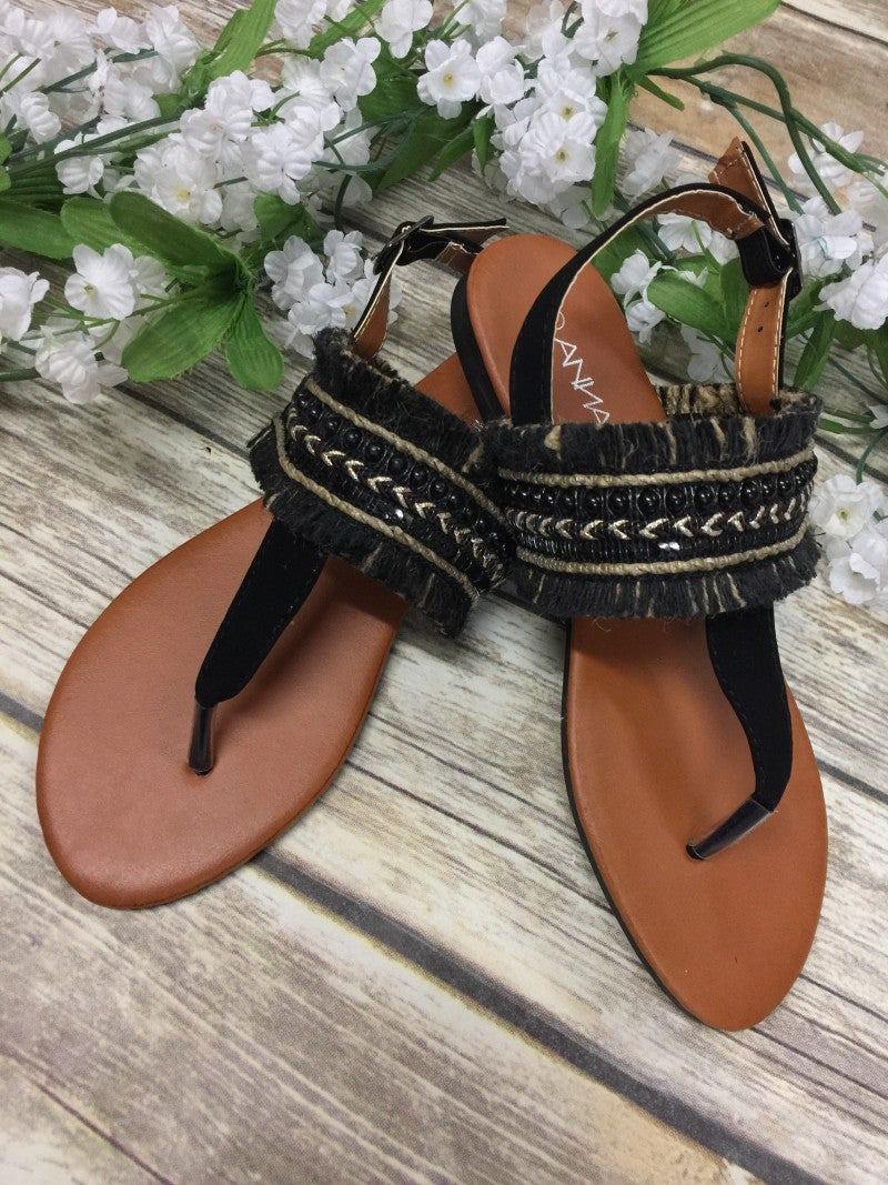 Feeling Festive Sandals With Fringe Detail In Black - Sizes 6-10