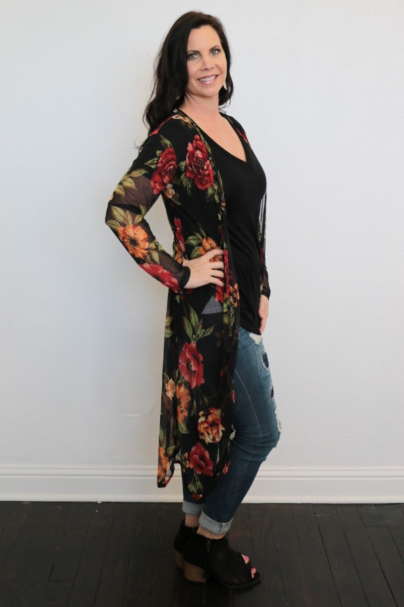 You Are Worthy Floral Duster In Black/Red - One Size