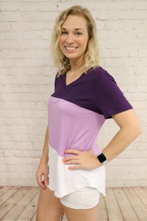 Three Times the Fun Colorblock V-Neck Tee in Multiple Colors- Sizes 4-20