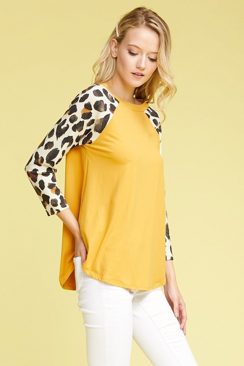 Give My Word Mustard Raglan with Animal Print Sleeve Sizes 12-20