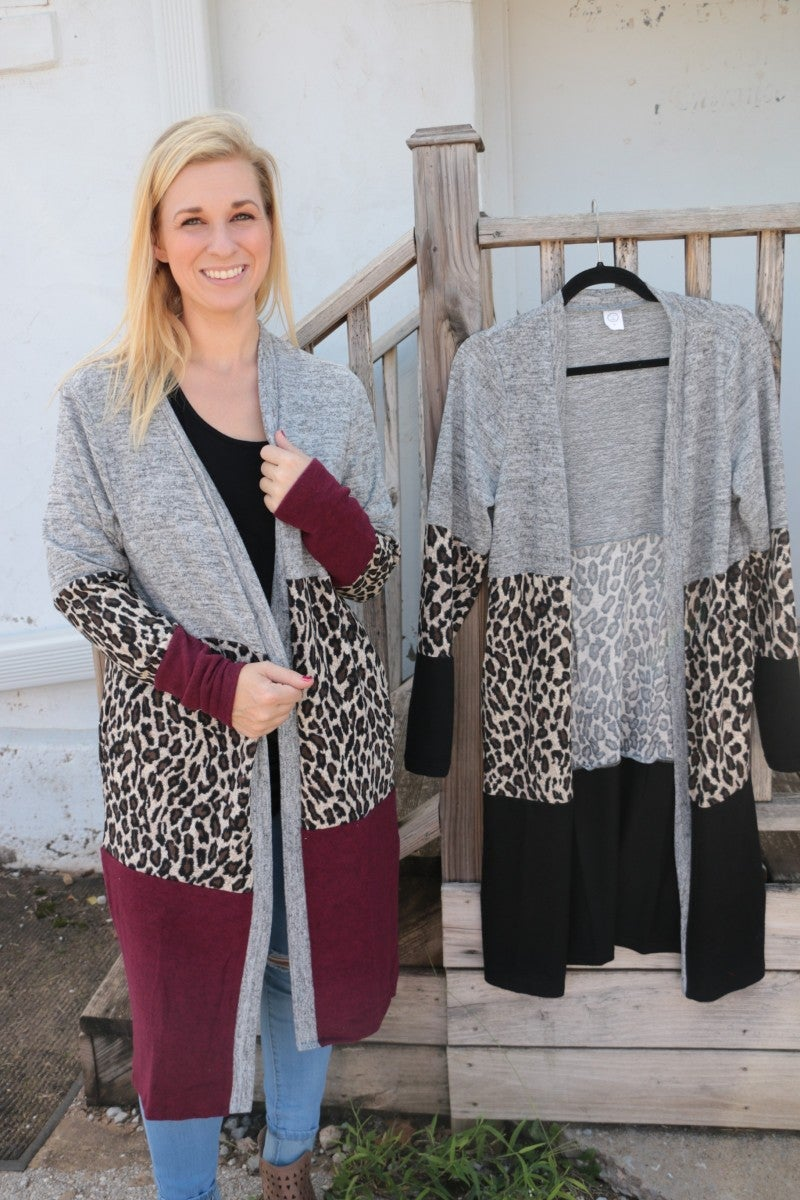 Awe & Wonder Leopard Color Block Cardigan - Multiple Colors- Sizes 4-20