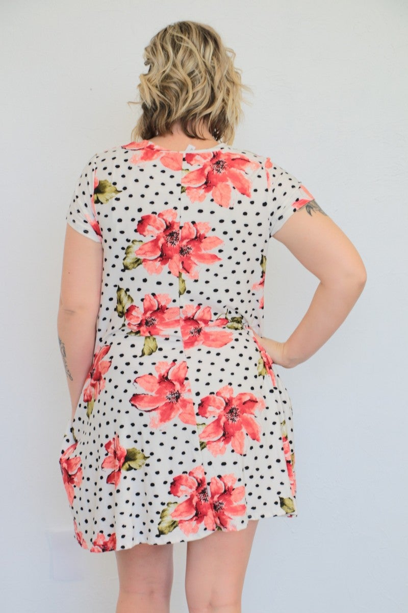 Blessed Beyond Measure Floral & Polka Dot Dress With Criss- Cross Neck In White - Sizes 12-20