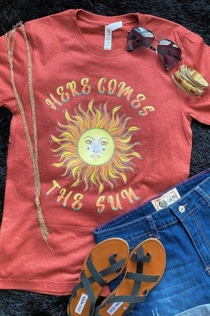 PRE-ORDER: Here Comes The Sun Graphic Tee in Cinnamon - Sizes 4-20
