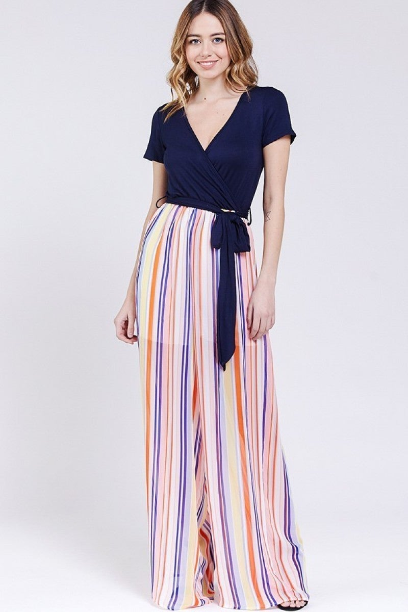 Broken Halo Striped Contrast Jumpsuit In Orange - Sizes 4-10