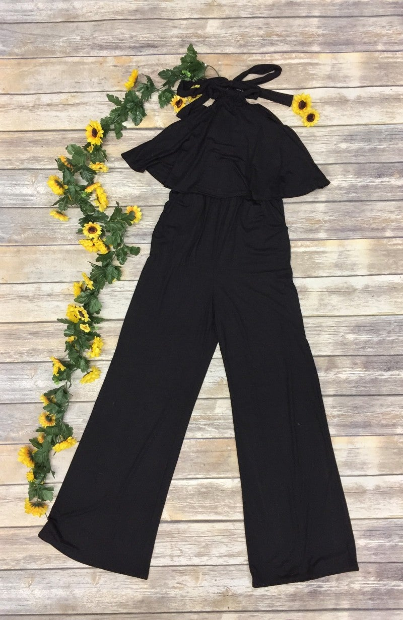 Love Me Long Halter Romper in Black - Sizes 4-10