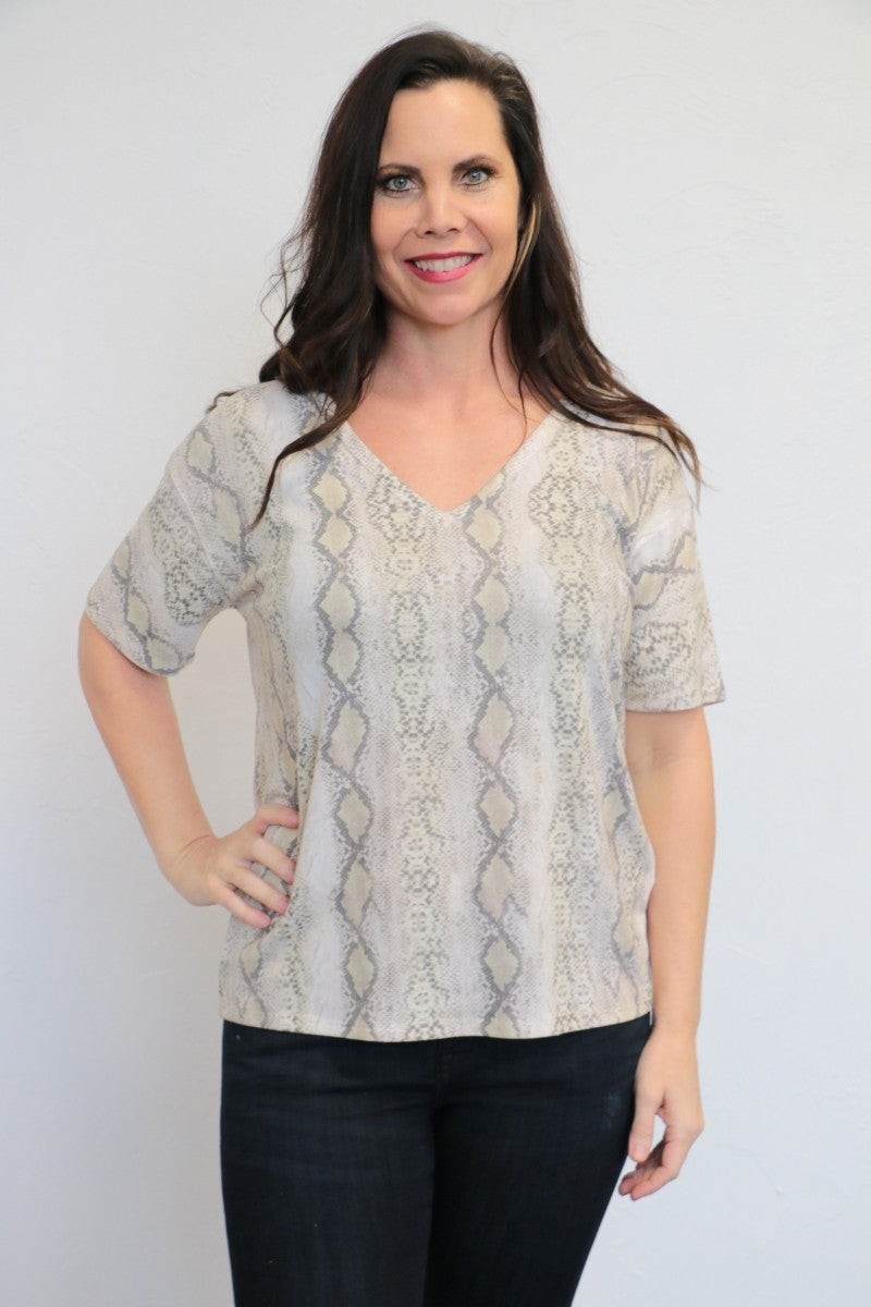 Slither Right Up Short Sleeve Snakeskin Top In Cream - Sizes 4-10