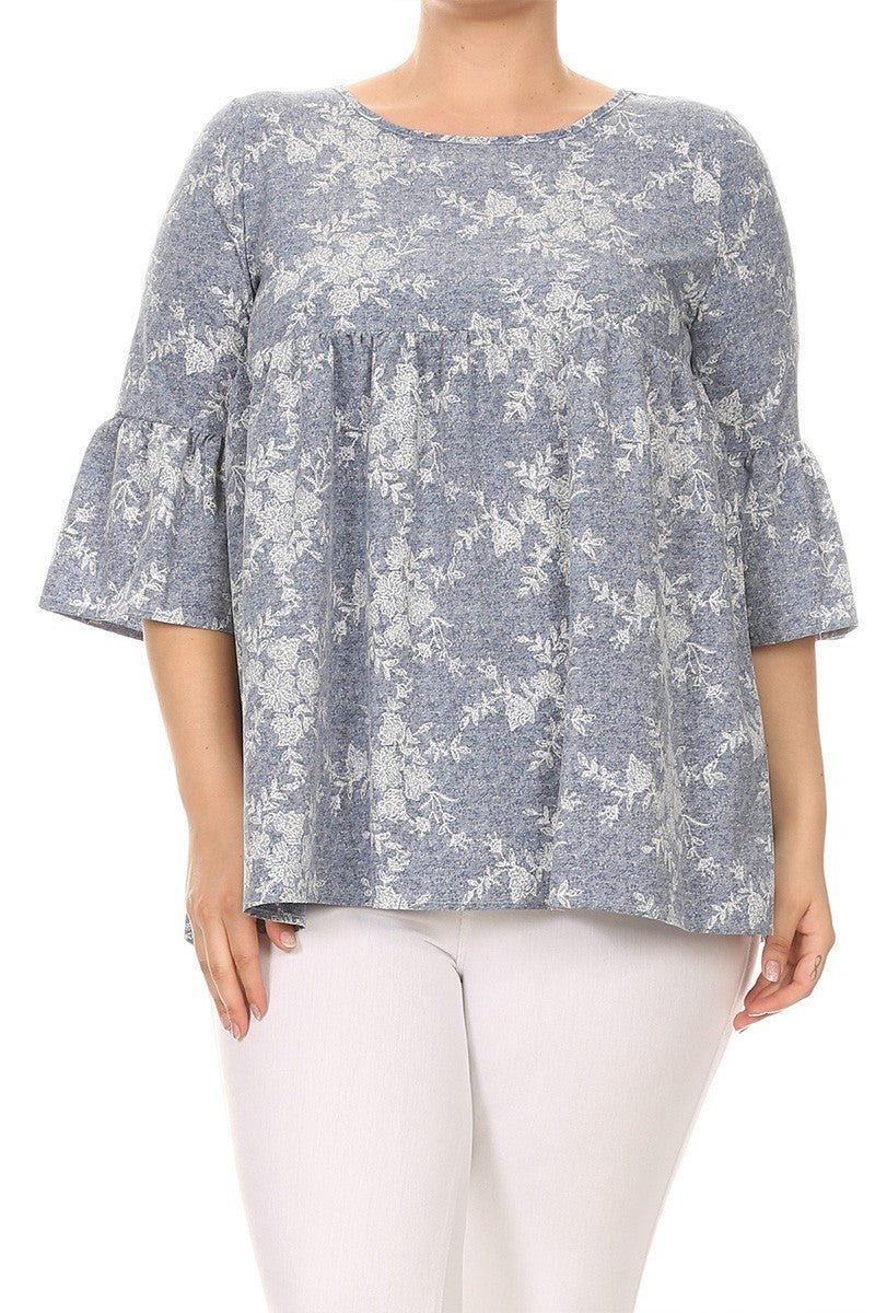 Getting Applause Denim Print Babydoll Top - Sizes 12-20