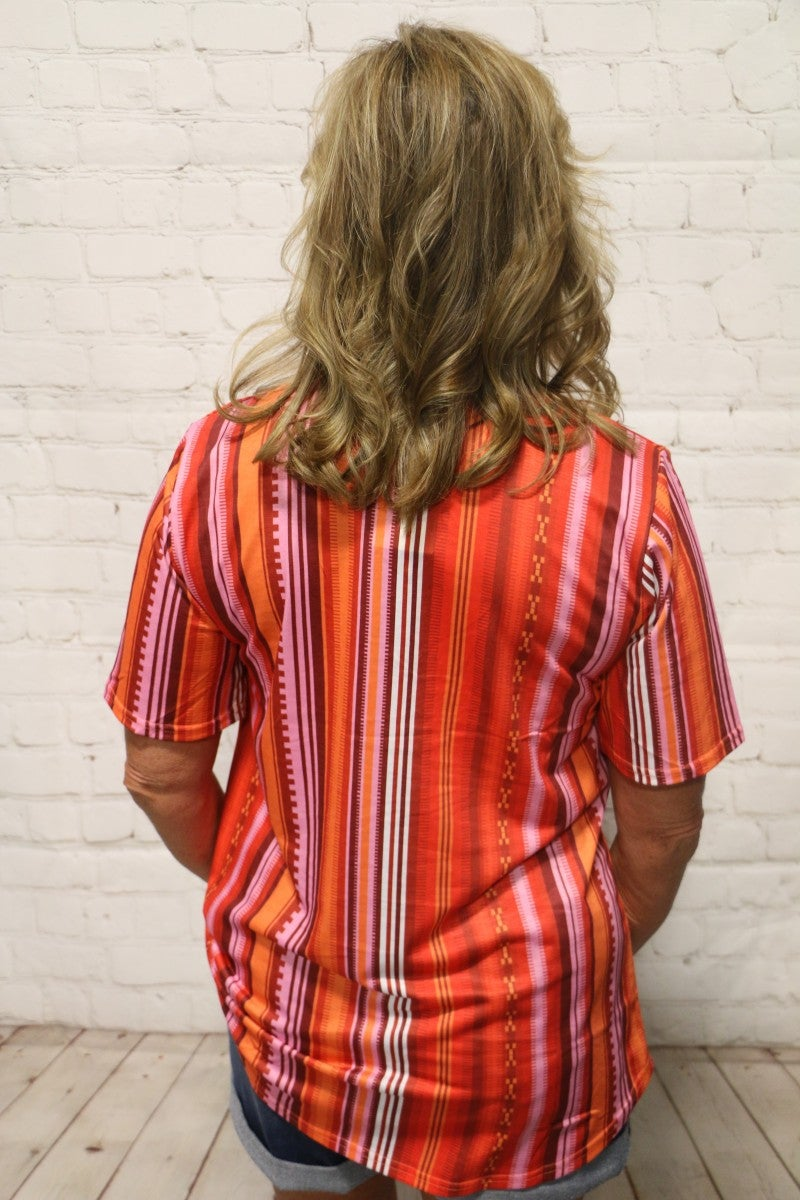 Must Have Been Love Red and Orange Vertical Striped Top with Lattice V-Neck - Sizes 4-18
