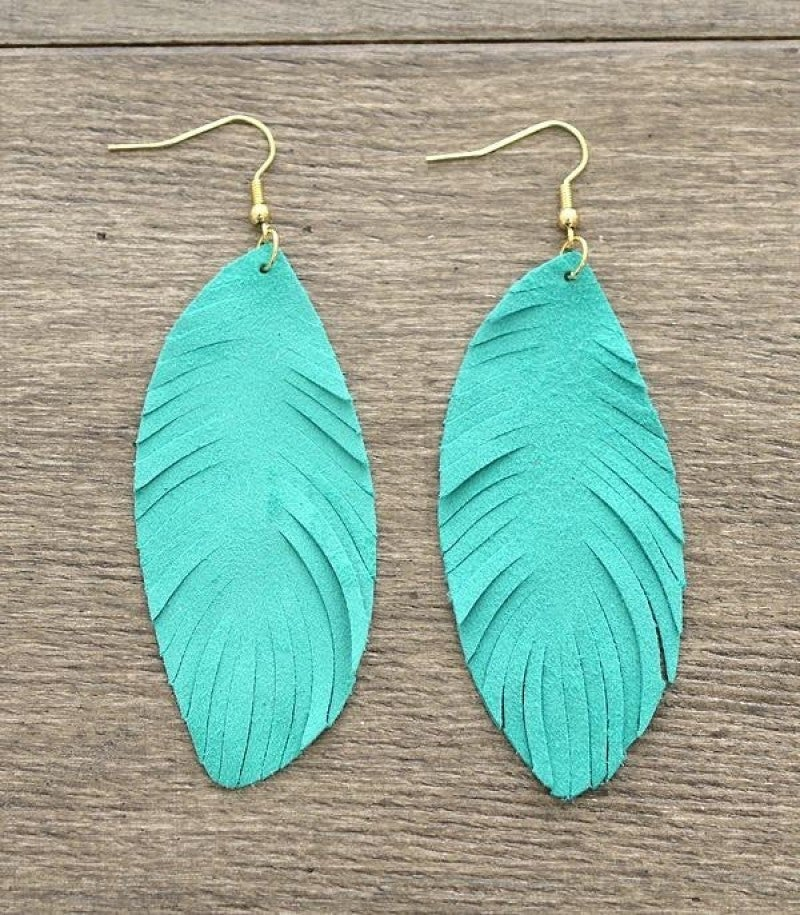 Think About Me Suede Earrings - Turquoise