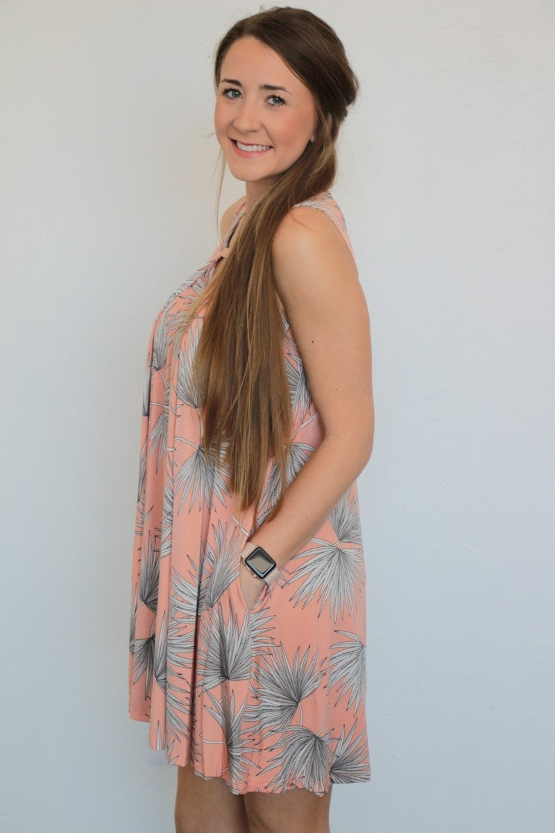 Lovely Touch Leaf Print Dress in Peach - Sizes 4-20
