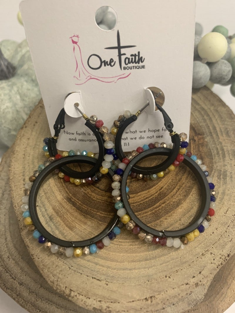 Get Them Out Double Hoop Earrings With Beeds In Multicolor