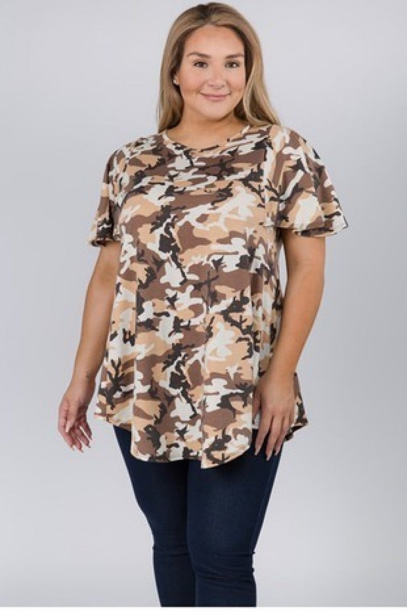Out In The Desert Camo Flutter Sleeve Top- Sizes 12-20