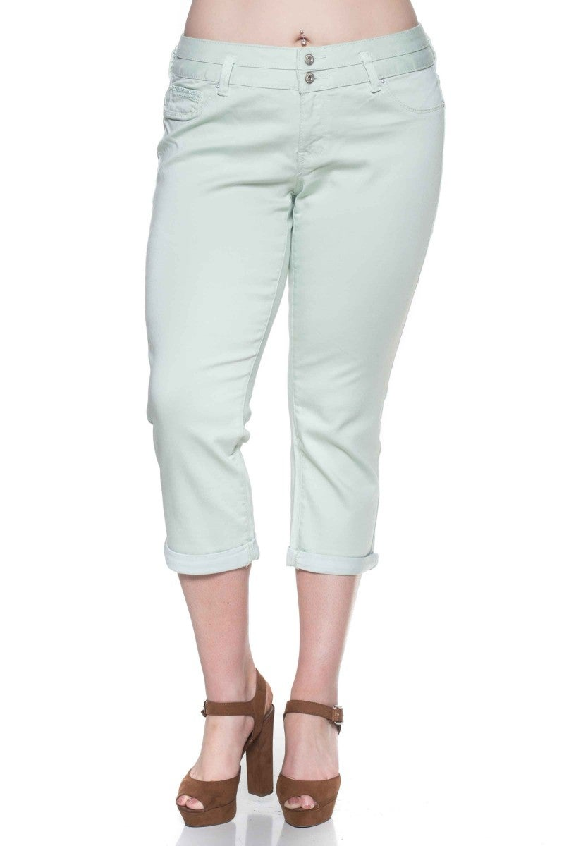 The Danae Capri Jeans in Mint -Sizes 14-24