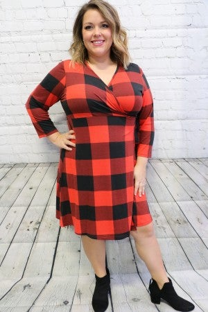Always the One Red Buffalo Check Wrap Dress-Sizes-6-20