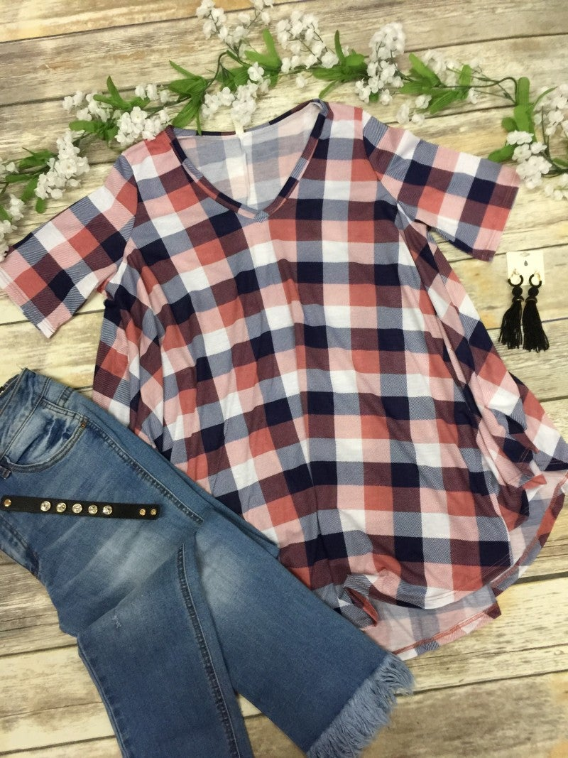 Waiting For You Plaid Top in Navy - Sizes 12-20