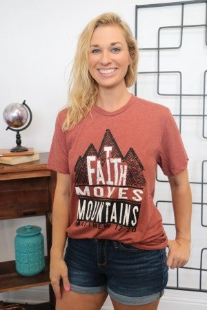 ***PRE-ORDER***Faith Can Move Mountains Graphic Tee In Brick- Sizes 4-20