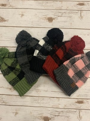 Bring On The Cold Plaid CC Beanie With Pom- Multiple Colors
