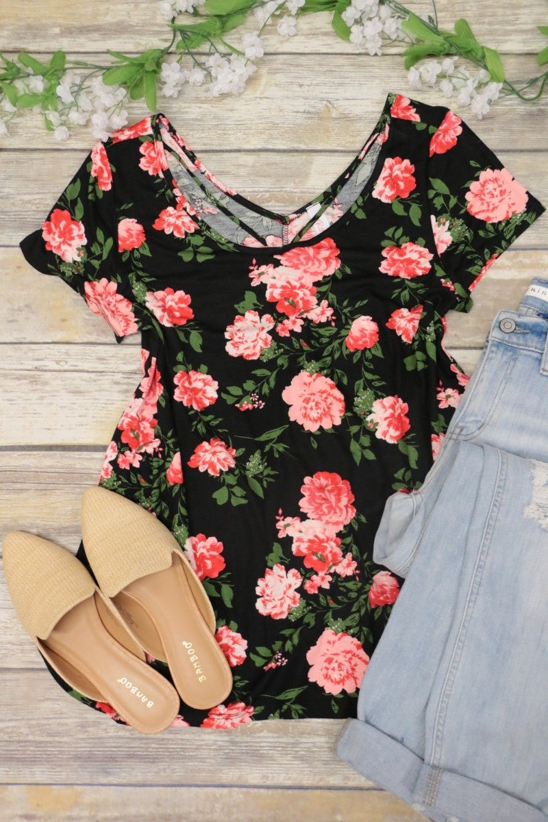 Summer Night Out Floral Top With Criss-Cross Detail In Black
