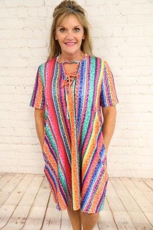 Serape & Leopard Striped Dress - Sizes 4-20