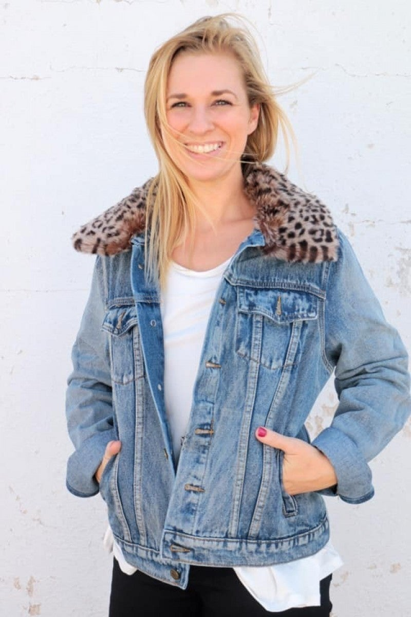 Spin Around Denim Jacket With Faux Leopard Collar - Sizes 10-20