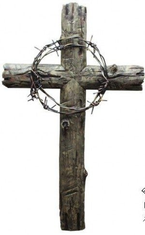 Barbed Wire Resin Old Wood Cross Wall Hanger