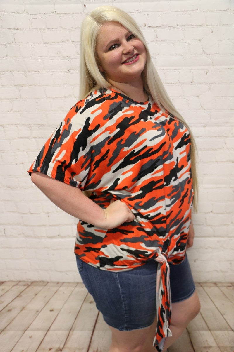 Out In The Wild Orange Camo Top With Tie Hem- Sizes 12-20