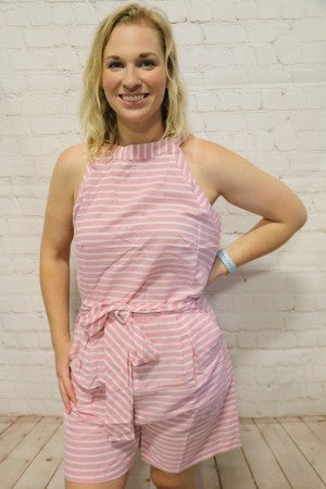 Pink Striped Romper ~ Sizes 8-14