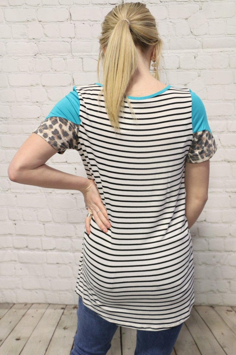 Send My Love Stripe And Leopard Color Block Top In Multiple Colors- Sizes 4-20