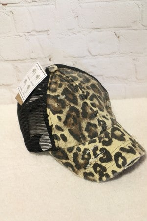 Prowling in the Night Leopard Ponytail Basball Cap