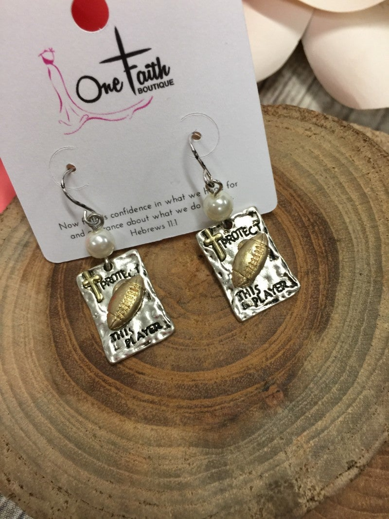 Protect This Player Rectangle Earrings With Football and Cross