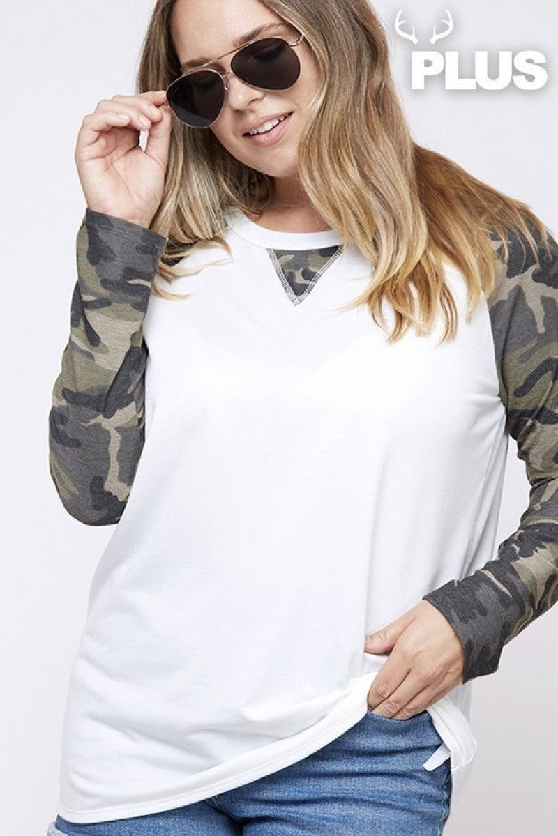 All My Love Camo Raglan In White- Sizes 12-20