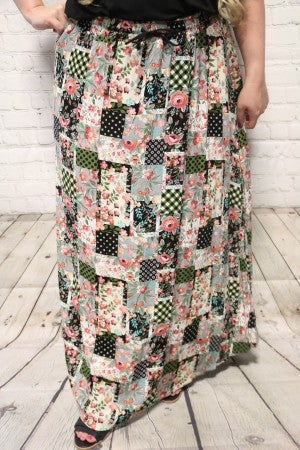 Let's Go Back Floral Patchwork Maxi Skirt-Sizes-4-20