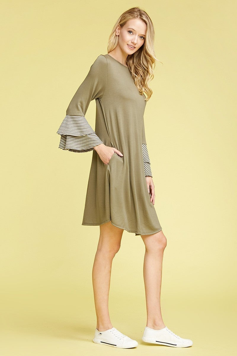 Hiding In Plain Sight Long Sleeve Dress With Ruffle Sleeve Accent In Olive - Sizes 12-20