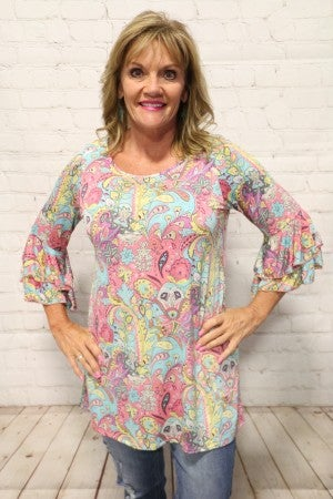 Pink Paisley Print with Ruffle Sleeve - Sizes 4-20